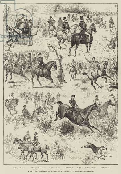 A Day with the Empress of Austria and Sir Watkin Wynn's Hounds (engraving)