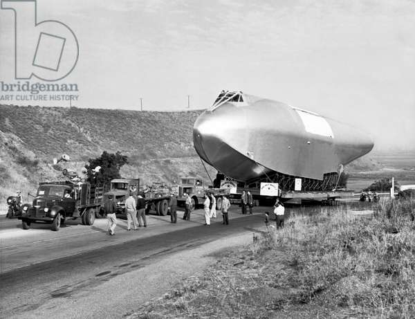 Spruce Goose Hull On The Move (b/w photo)