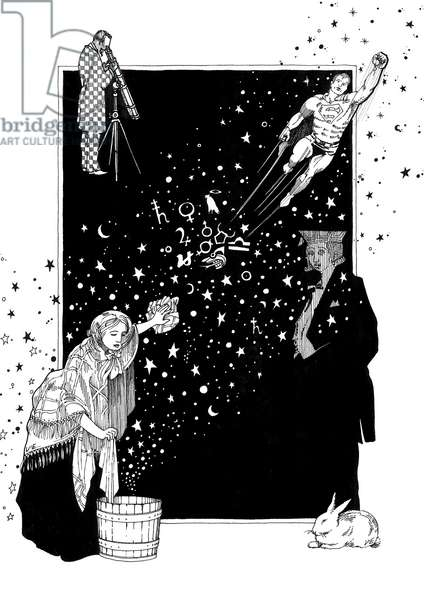 Fantastic tales of stars of the firmament, 1979 (black ink on cotton paper)