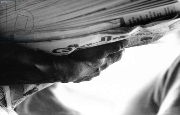 Newspaper, India, Kerala, 2003, photo black and white, by Carola Guaineri