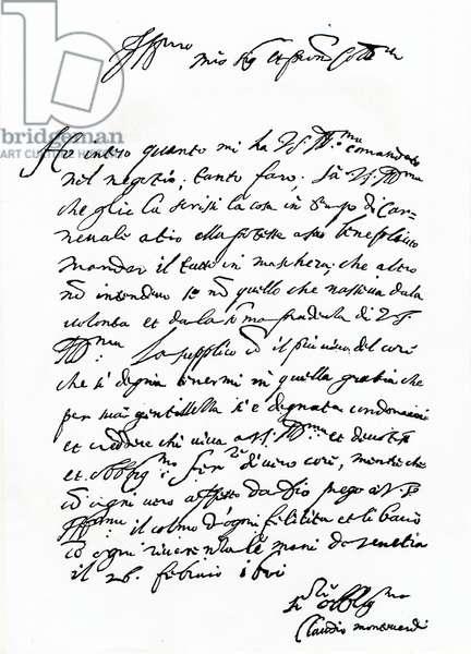 Claudio Monteverdi autograph letter