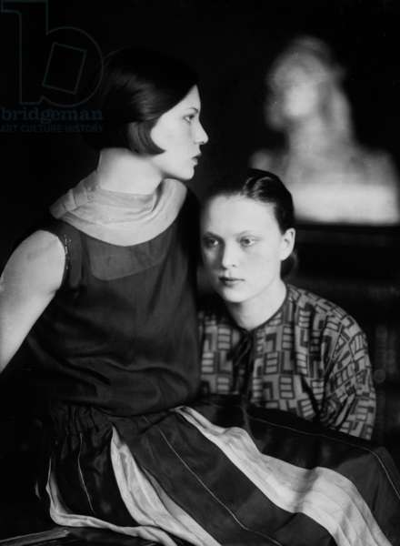Portrait of Wanda and Marion Wulz, Trieste, c.1920 (glass plate)