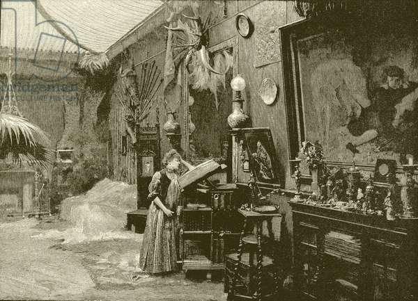 Sarah Bernhardt in her studio (engraving)