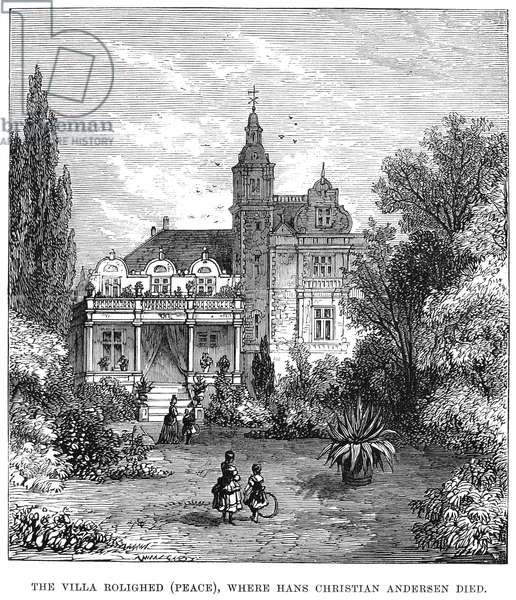 HANS CHRISTIAN ANDERSEN (1805-1875) Danish writer. 'The Villa Rolighed (Peace), where Andersen died.' Wood engraving, 1875.