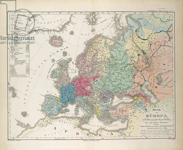 Ethnographic Map of Europe, illustration from 'Dr. Heinrich Berghaus' Physikalischer Atlas', 1852 (colour litho)
