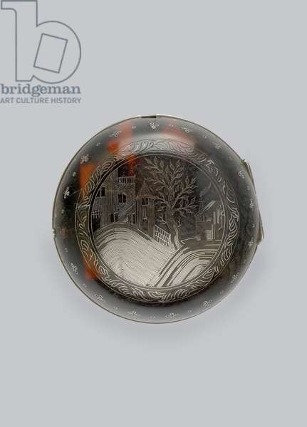 Reverse of a pair-cased verge watch, c.1685 (silver & tortoiseshell)
