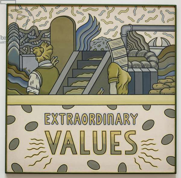 Extraordinary Values, c.1970  (acrylic on canvas, in hand-painted frame)