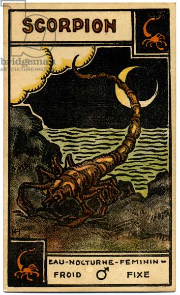 Paranormal. Astrology. Scorpio (the Scorpion). Astrologic card from: Le Tarot Astrologique (Astrological Tarot), by Georges Muchery, France, 1927