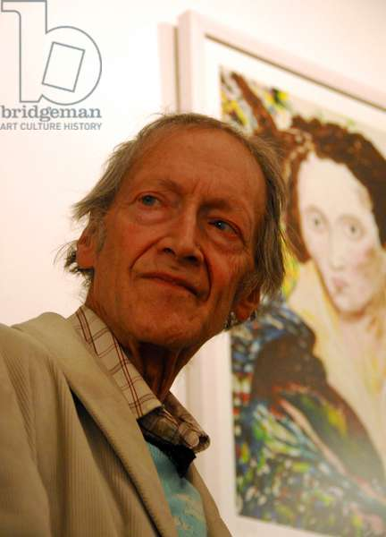 Michael Horovitz, during a private view of an exhibition of his work in Notting Hill, London, February 2011 (photo)