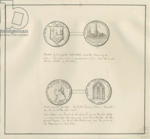 Lichfield - Medals of Lichfield Cathedral and the City Arms, and a portrait of Richard Greene: pen drawing, nd [early 19th cent] (drawing)