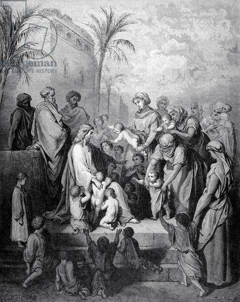 Jesus blessing the children. Engraving.