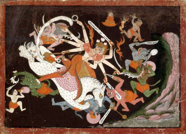 The Great Goddess Durga Slaying Demons, c.1740 (opaque w/c with gold on paper)