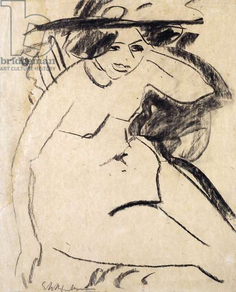 Dido with Hat; Dido mit Hut, c.1909 (black crayon on thick cream japan paper)