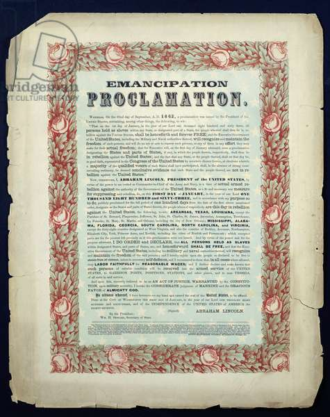 Emancipation Proclamation, 1862 American History (photo)