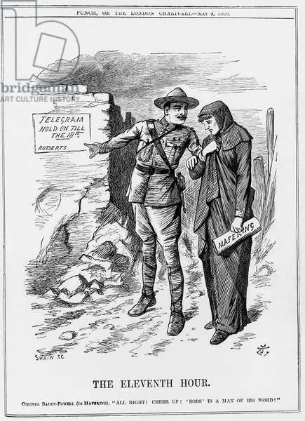 Boer War: Baden Powell encouraging Mafeking to hold out. Lord Roberts promised to relieve them by 18 May. John Tenniel cartoon from Punch 9 May 1900.