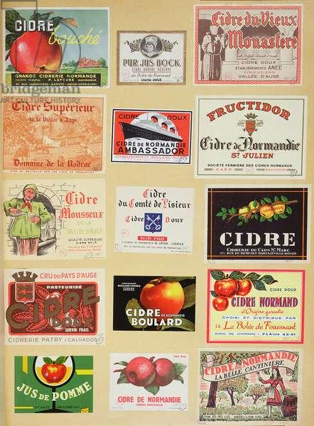 Labels from cider bottles (colour litho)