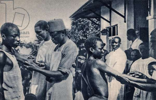 Catholic Missionaries Administering Vaccinations, Africa, Africa, c.1920 (postcard)
