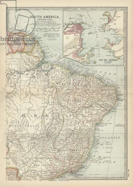 Map of the eastern part of South America