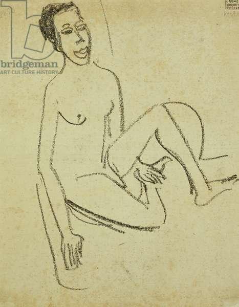 Nude Boy; Knabenakt (Verso), 1907 (charcoal on paper)