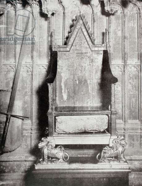 The Coronation chair in which all sovereigns of England have been crowned since the days of Edward I, showing, beneath the seat, the famous Stone of Scone.  From The Illustrated London News published 1910.