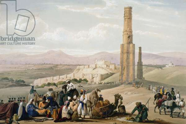 First Anglo-Afghan War 1838-1842: Ghanzi: fortress, citadel and remains of 2 minarets. Changed hands a number of times during hostilities. From Atkinson Afghanistan London c1850. Hand-coloured lithograph.