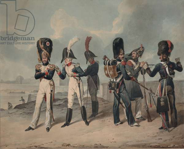 French Imperial Guard and National Guard during the Hundred Days, 1816 (w/c on paper)