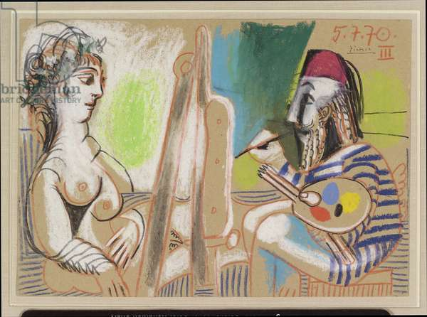 Painter and Model III, July 5, 1970 (pastel & crayon on paper)