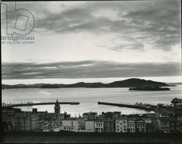 Buildings and Bay, San Francisco, 1937 (silver gelatin print)