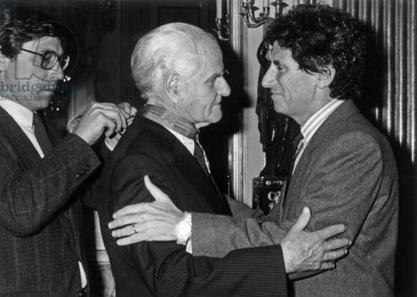 Director Jean Delannoy Made Commandeur De La Légion D'Honneur By Jack Lang, French Minister of Culture, November 13, 1984 (b/w photo)