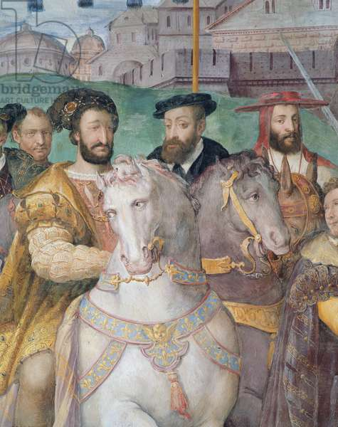 Detail of the Solemn Entrance of Emperor Charles V, Francis I and Alessandro Farnese to Paris in 1540, from the 'Sala dei Fasti Farnese', 1557-66 (fresco)