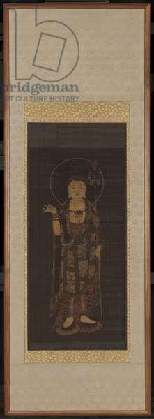 The Bodhisattva Ksitigarbha, late 14th century (ink & colours on silk)