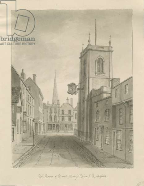 Lichfield - St. Mary's Church: sepia wash drawing, 1841 (drawing)