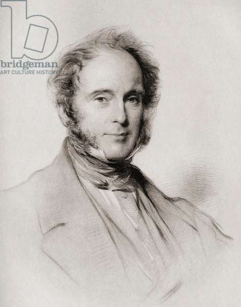 """Henry John Temple,3rd Viscount Palmerston, Baron Temple of Mount Temple. byname PAM (1784-1865) English Whig-Liberal statesman. From the painting by G. Richmond from the book """"The Letters of Queen Victoria 1854-1861 Vol III"""" published 1907."""