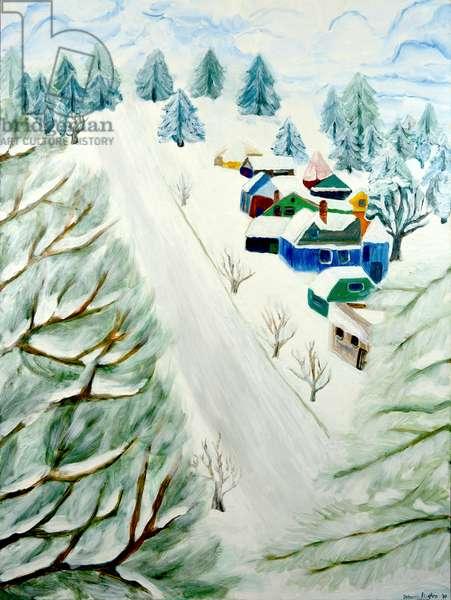 Village Snow, 2014, acrylic on canvas