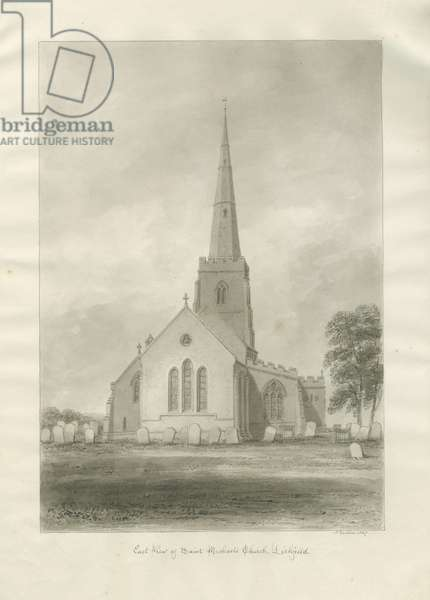 Lichfield - St. Michael's Church: sepia drawing, 1847 (drawing)
