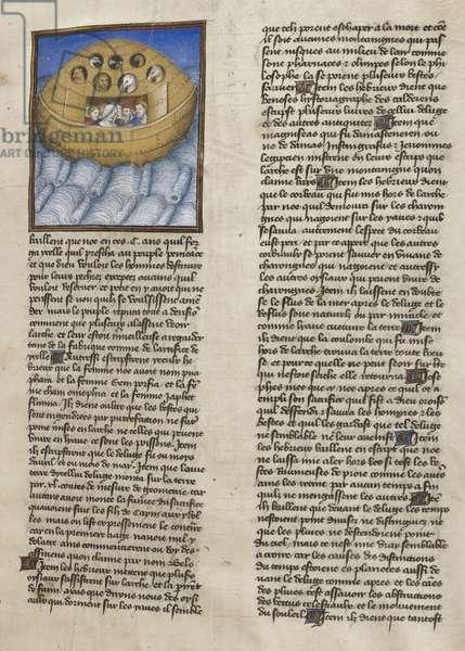 Royal 19 E. VI, f.15 Noah's Ark, illustration from 'Les Croniques de Burgues', 1407 (vellum)