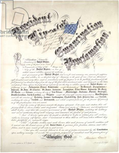 President Lincoln's Emancipation Proclamation, January 1 1863, 1864 (litho)