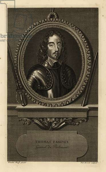 Thomas Fairfax, Lord Fairfax, English nobleman and Parliamentary general. General de Parlement. In suit of armour with lace collar. Copperplate engraving by Pierre Drevet after Adriaen van der Werff from Isaac de Larrey's Histoire d'Angleterre, d'Ecosse et d'Irlande, Amsterdam, 1730.