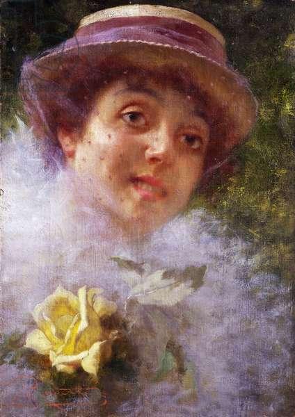 Lady wearing veil, by Camillo Rapetti (1859-1929), oil on canvas, 35x50 cm, 1890-1900