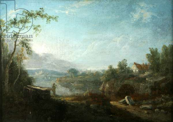 River Scene in Italy (oil on canvas)