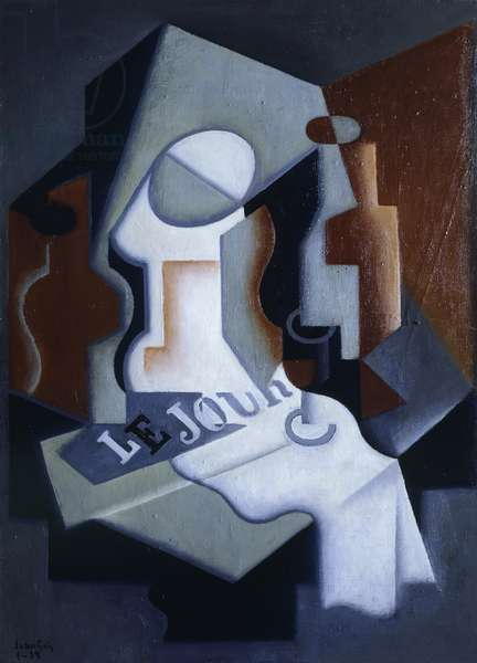 Still life with bottle and fruit, 1919 (oil on canvas)
