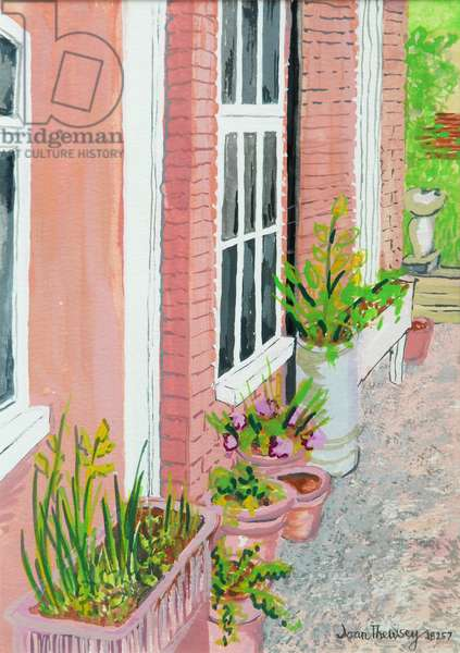 View from the Cottage Kitchen Window with Plants, 2010, gouache