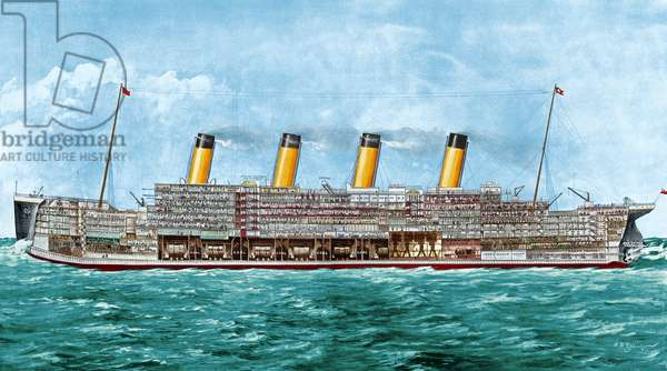 THE TITANIC, 1912 Cross section of the Titanic, the White Star liner that sank, 14-15 April 1912, after having struck an iceberg in the North Atlantic while on her maiden voyage. Contemporary newspaper illustration, digitally coloured  by Granger, NYC