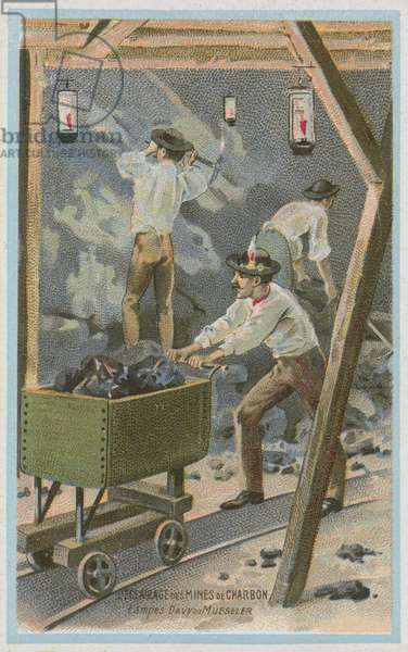 Lighting coal mines, Davy lamps or Mueseler lamps (chromolitho)