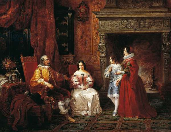 Prince telling young prince and his mother of Gertrude's decision to become nun, episode from Betrothed by Alessandro Manzoni (1785-1873), 1837, by Francesco Gonin (1808-1889), oil on canvas, Italy, 19th century