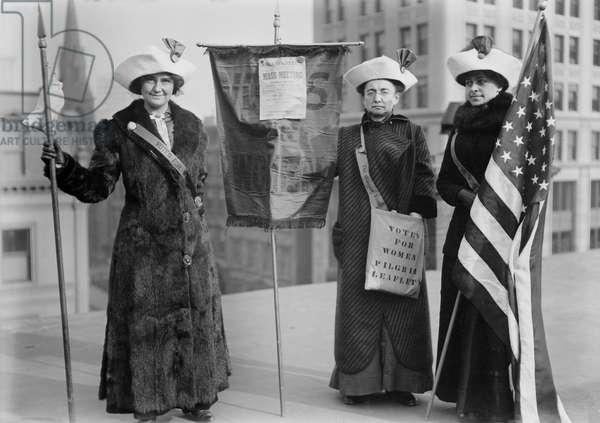 Mrs. J. Hardy Stubbs, Miss Ida Craft, Miss Rosalie Jones, Suffragettes during Suffrage Hikes, Portrait, Bain News Service, circa 1914
