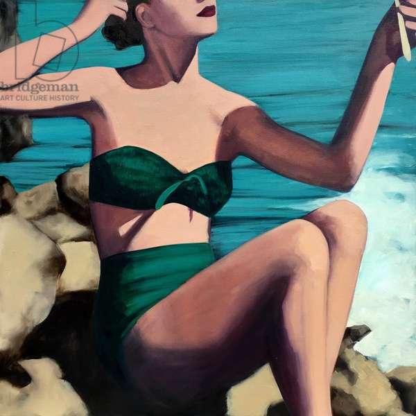 Mid Century Mermaid, 2017, (oil on canvas)