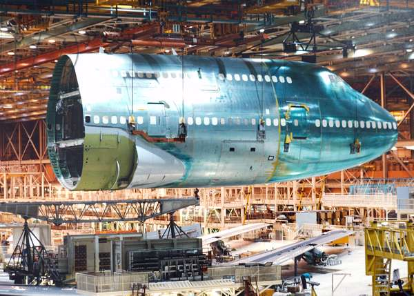 The assembly plant at Boeing in Wichita
