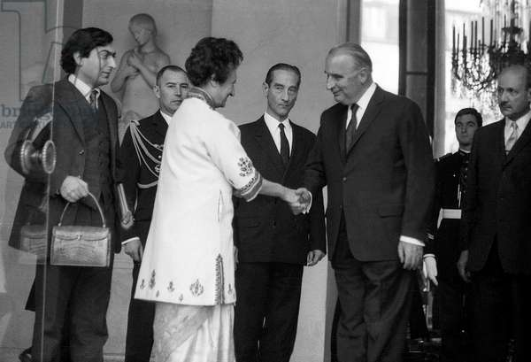 Indira Gandhi, Indian Prime Minister, and French President Georges Pompidou, at Elysee, Paris, November 8, 1971 (b/w photo)
