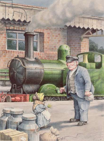 Toad and the railway driver, illustration from 'The Wind in the Willows' (w/c on paper)